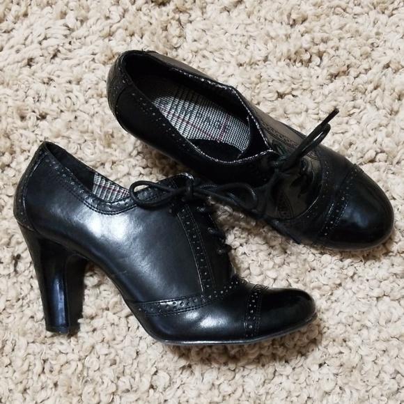 Rampage Shoes - RAMPAGE Kassie Black Tie Oxford Heels